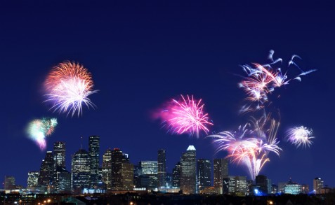 Houston skyline_ fireworks