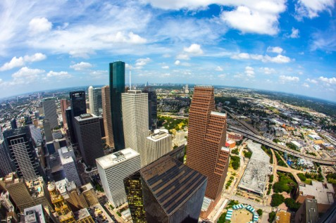 aerial of modern buildings in downtown Houston